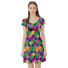 Background Geometric Triangle Short Sleeve Skater Dress