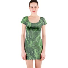 Green Geological Surface Background Short Sleeve Bodycon Dress