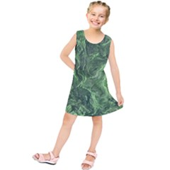 Green Geological Surface Background Kids  Tunic Dress
