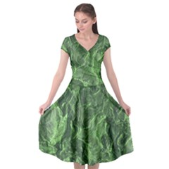 Green Geological Surface Background Cap Sleeve Wrap Front Dress