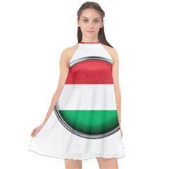 Hungary Flag Country Countries Halter Neckline Chiffon Dress
