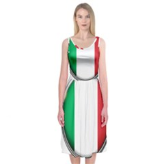 Italy Country Nation Flag Midi Sleeveless Dress