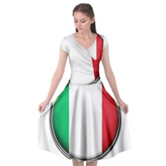 Italy Country Nation Flag Cap Sleeve Wrap Front Dress by Nexatart