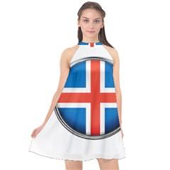 Iceland Flag Europe National Halter Neckline Chiffon Dress