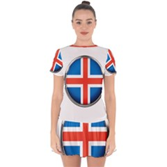 Iceland Flag Europe National Drop Hem Mini Chiffon Dress
