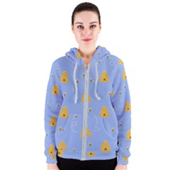 Bee Pattern Women s Zipper Hoodie