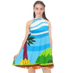 Landscape Background Nature Sky Halter Neckline Chiffon Dress