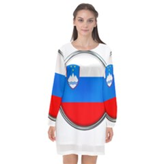 Slovenia Flag Mountains Country Long Sleeve Chiffon Shift Dress