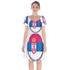 Serbia Flag Icon Europe National Short Sleeve Bardot Dress by Nexatart