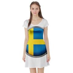 Sweden Flag Country Countries Short Sleeve Skater Dress