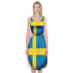 Sweden Flag Country Countries Midi Sleeveless Dress