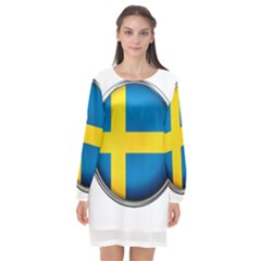 Sweden Flag Country Countries Long Sleeve Chiffon Shift Dress  by Nexatart
