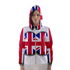 United Kingdom Country Nation Flag Hooded Wind Breaker (women)