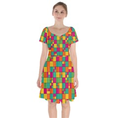 Squares Abstract Background Abstract Short Sleeve Bardot Dress