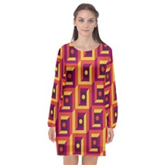 3 D Squares Abstract Background Long Sleeve Chiffon Shift Dress