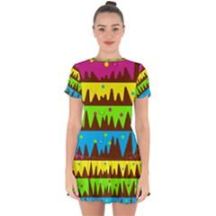Illustration Abstract Graphic Drop Hem Mini Chiffon Dress