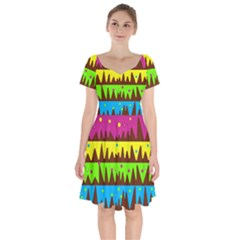 Illustration Abstract Graphic Short Sleeve Bardot Dress by Nexatart