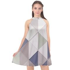 Background Geometric Triangle Halter Neckline Chiffon Dress