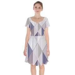 Background Geometric Triangle Short Sleeve Bardot Dress
