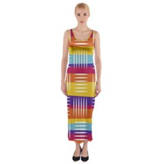 Art Background Abstract Fitted Maxi Dress