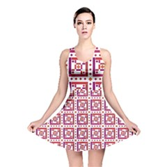 Background Abstract Square Reversible Skater Dress
