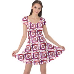Background Abstract Square Cap Sleeve Dress