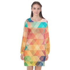 Texture Background Squares Tile Long Sleeve Chiffon Shift Dress  by Nexatart