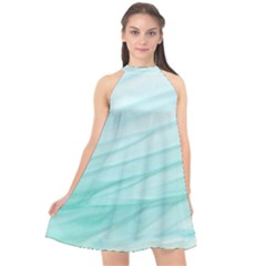 Blue Texture Seawall Ink Wall Painting Halter Neckline Chiffon Dress