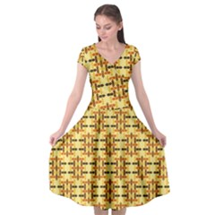 Ethnic Traditional Vintage Background Abstract Cap Sleeve Wrap Front Dress
