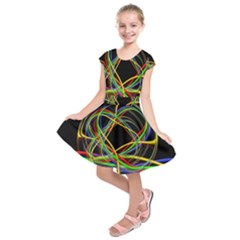 Ball Abstract Pattern Lines Kids  Short Sleeve Dress by Nexatart