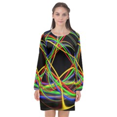 Ball Abstract Pattern Lines Long Sleeve Chiffon Shift Dress  by Nexatart