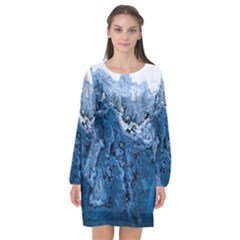 Water Nature Background Abstract Long Sleeve Chiffon Shift Dress