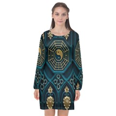 Ying Yang Abstract Asia Asian Background Long Sleeve Chiffon Shift Dress  by Nexatart