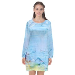 Background Art Abstract Watercolor Long Sleeve Chiffon Shift Dress