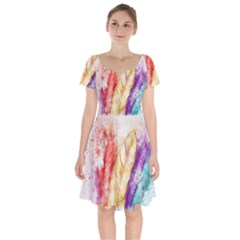Feathers Bird Animal Art Abstract Short Sleeve Bardot Dress by Nexatart