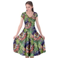 Background Square Flower Vintage Cap Sleeve Wrap Front Dress by Nexatart