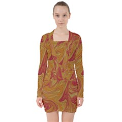 Texture Pattern Abstract Art V Neck Bodycon Long Sleeve Dress by Nexatart