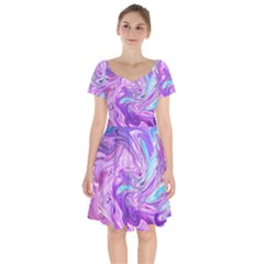 Abstract Art Texture Form Pattern Short Sleeve Bardot Dress