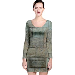 Wall Stone Granite Brick Solid Long Sleeve Bodycon Dress by Nexatart