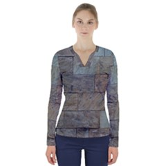 Wall Stone Granite Brick Solid V Neck Long Sleeve Top by Nexatart
