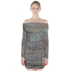 Wall Stone Granite Brick Solid Long Sleeve Off Shoulder Dress by Nexatart
