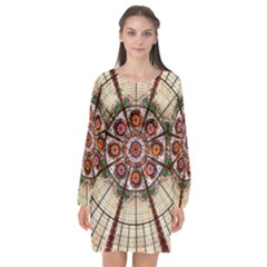 Pattern Round Abstract Geometric Long Sleeve Chiffon Shift Dress  by Nexatart