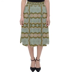 Celtic Wood Knots In Decorative Gold Folding Skater Skirt by pepitasart