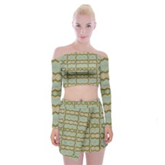Celtic Wood Knots In Decorative Gold Off Shoulder Top With Mini Skirt Set by pepitasart
