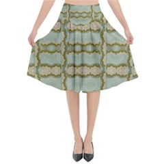 Celtic Wood Knots In Decorative Gold Flared Midi Skirt by pepitasart