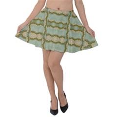 Celtic Wood Knots In Decorative Gold Velvet Skater Skirt by pepitasart