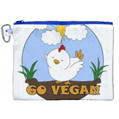 Go Vegan   Cute Chick  Canvas Cosmetic Bag (xxl) by Valentinaart