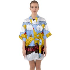 Go Vegan   Cute Chick  Quarter Sleeve Kimono Robe