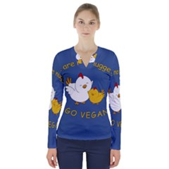 Go Vegan   Cute Chick  V Neck Long Sleeve Top by Valentinaart
