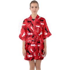 Red Quarter Sleeve Kimono Robe by HASHHAB